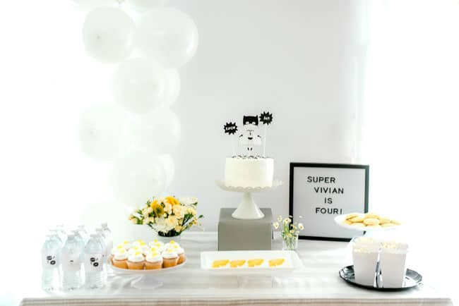 Modern Girls Superhero Party Cake Table