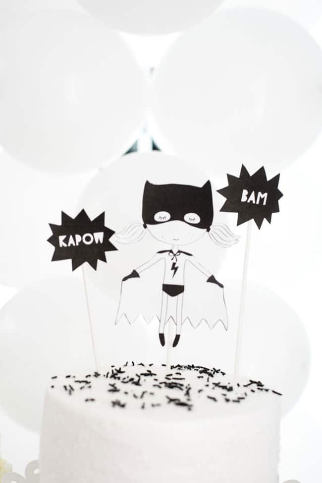 Modern Girls Superhero Party Cake Topper