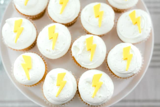 Modern Girls Superhero Party Cupcakes