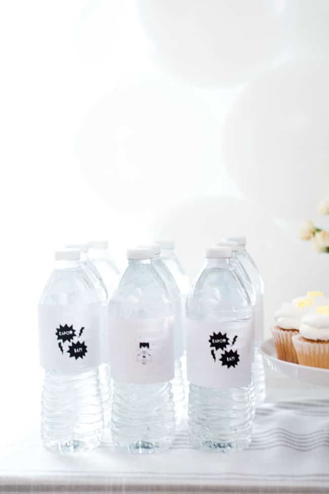Girls Superhero Party Water Bottle Labels