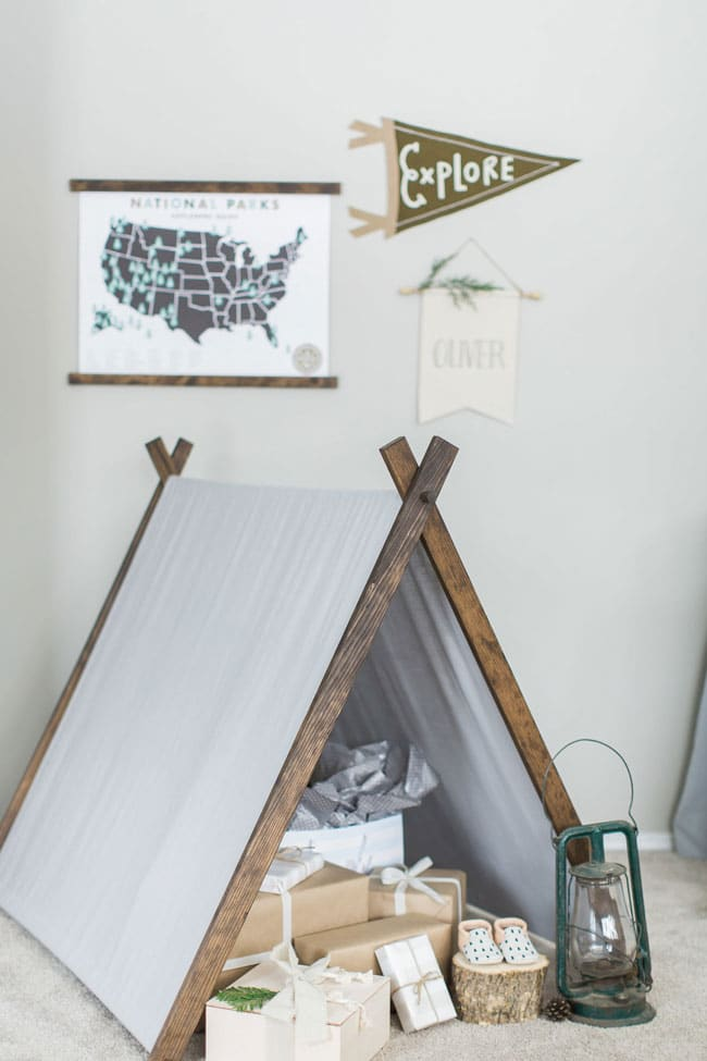 National Park Baby Shower Presents Under Tee Pee