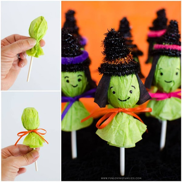 DIY Lollipop Witches For Halloween