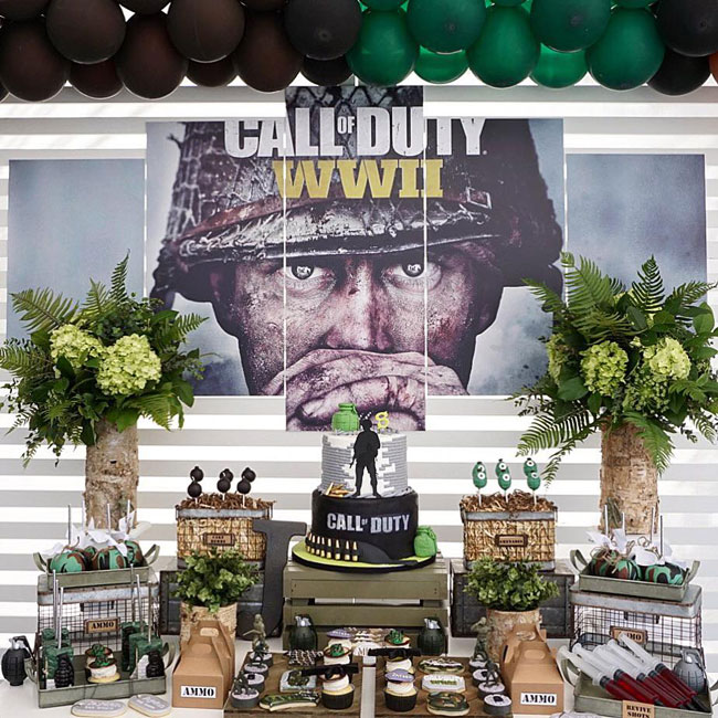 Call of Duty Birthday Party Sweets Table on Pretty My Party
