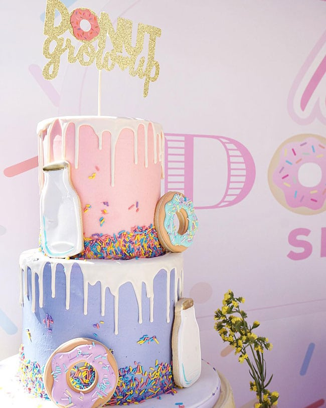 Donut Birthday Cake on Pretty My Party