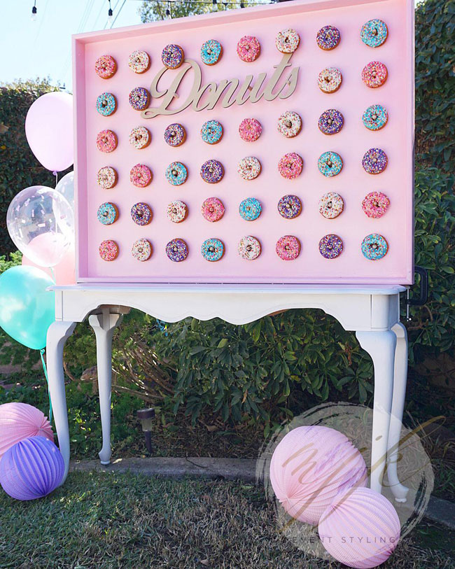 Donut Wall Display for Donut Themed Birthday Party