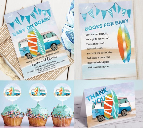 Baby on Board Surfer Baby Boy Shower Theme