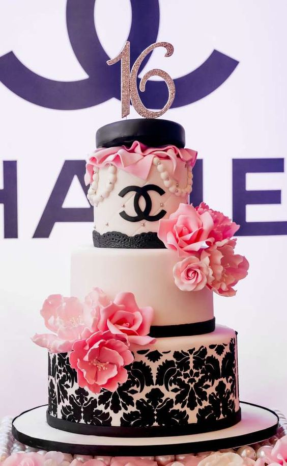 Chanel Themed Sweet 16 Birthday Cake