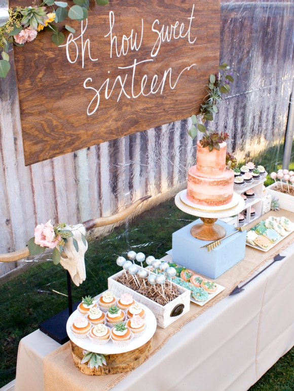 Succulent Sweet 16 Party Dessert Table Theme
