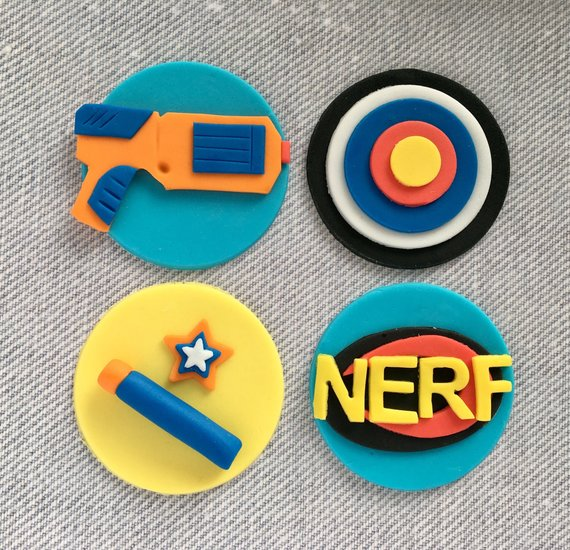 Nerf Cupcake Toppers - Nerf Party Ideas