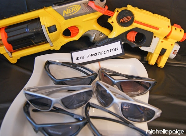 Nerf Guns and Glasses Party Favors - Nerf Gun Party Ideas