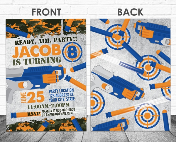 Nerf Party Invitations