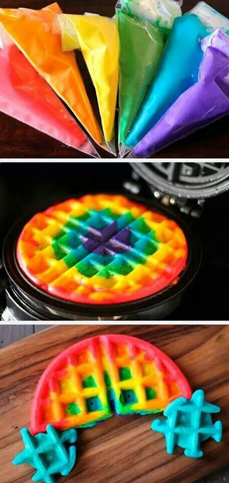 Rainbow Waffles - Slumber Party Ideas
