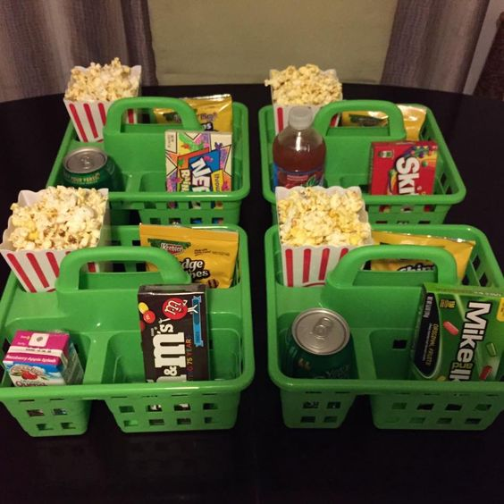 Snack Caddies - Fun Slumber Party Ideas