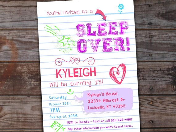 Sleep Over Party Invitation