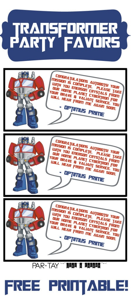 Free Transformers Favors Tags - Transformers Party Ideas