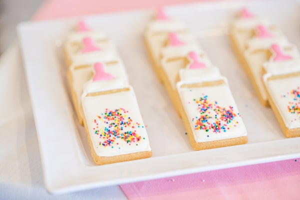 Baby Bottle Cookies with Sprinkles - Best Baby Sprinkle Ideas