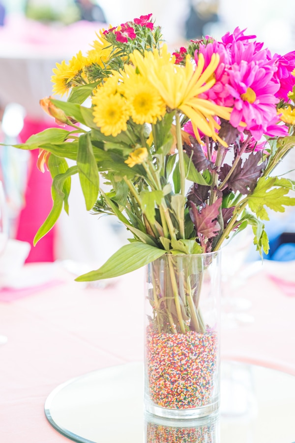 Baby Sprinkle Flower Table Centerpiece on Pretty My Party
