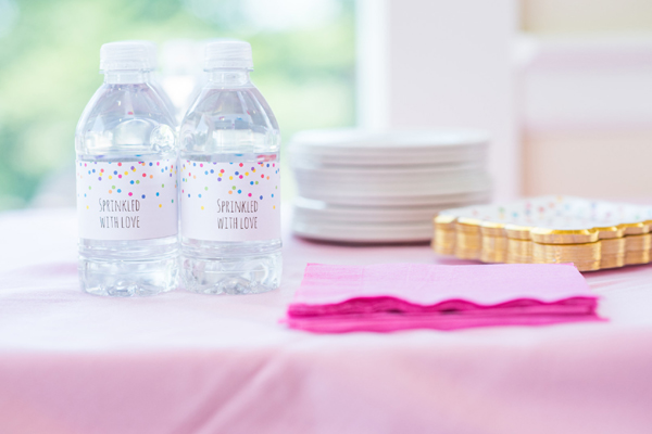Baby Sprinkle Sprinkle With Love Water Bottle Labels on Pretty My Party
