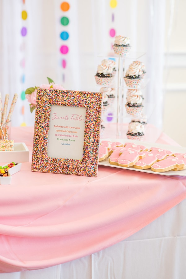 Baby Sprinkle Sweets Table Sign on Pretty My Party