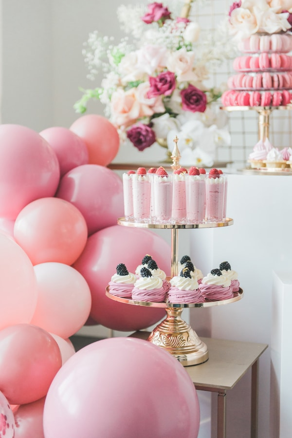 Pretty Pink and Gold 1st Birthday Party Desserts on Pretty My Party