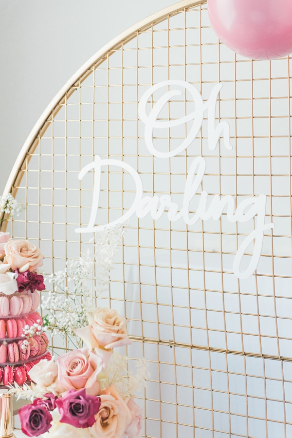 Pretty Pink and Gold 1st Birthday Party Gold Hula Hoop Wreath Backdrop on Pretty My Party