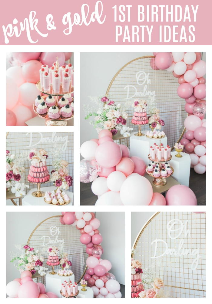 Pretty Pink and Gold 1st Birthday Party on Pretty My Party