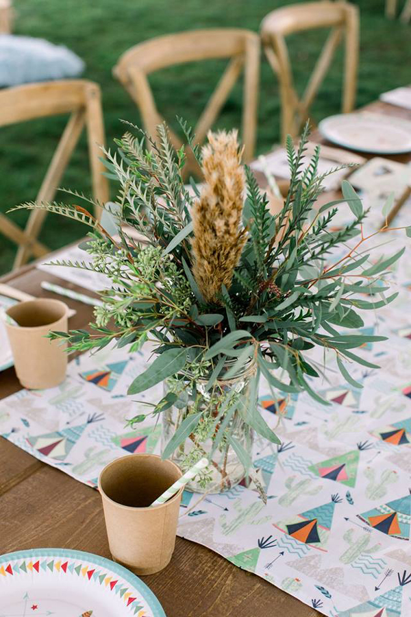Pow Wow 1st Birthday Party Table Centerpiece