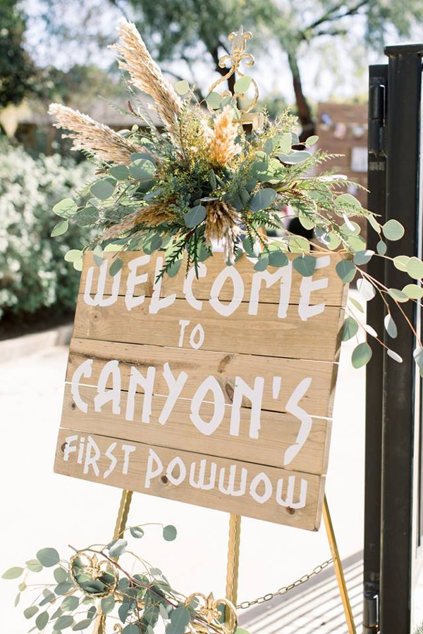 Pow Wow 1st Birthday Party Sign