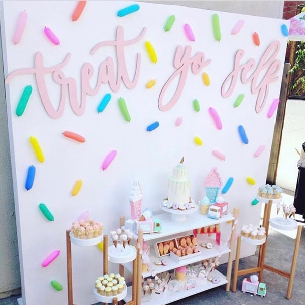 Sprinkle Themed Dessert Table and Backdrop - Best Baby Sprinkle Ideas