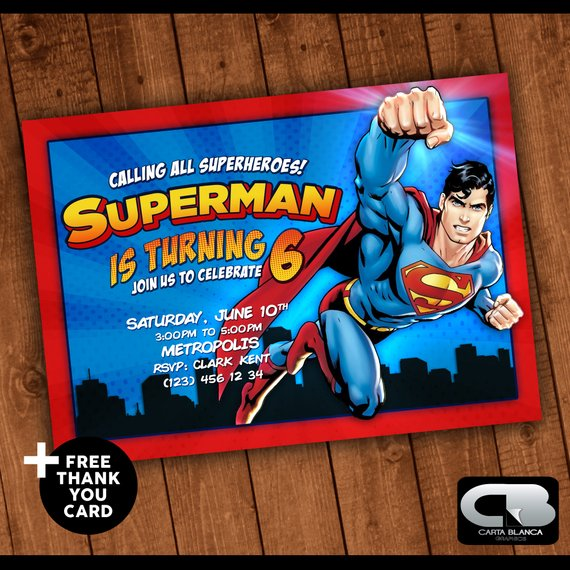 Superman Birthday Party Invitation - Superman Party Ideas