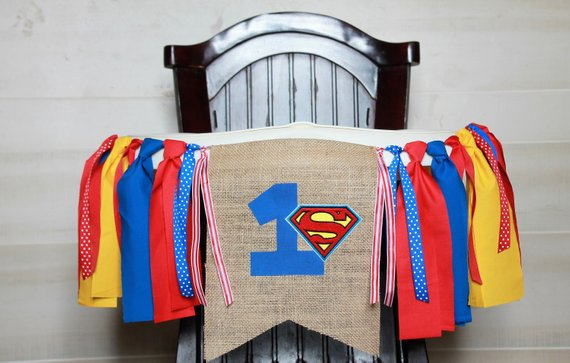 Superman High Chair Banner - Superman Party Ideas