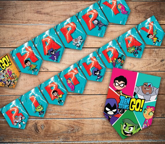 Teen Titans Go Happy Birthday Banner - Teen Titans Go Party Ideas