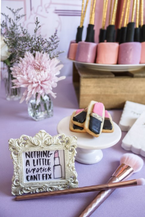 Beauty Boutique Birthday Party Lipstick Cookies and Nail Polish Cake Pops