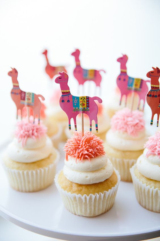 Llama Cupcakes - Llama Party Ideas