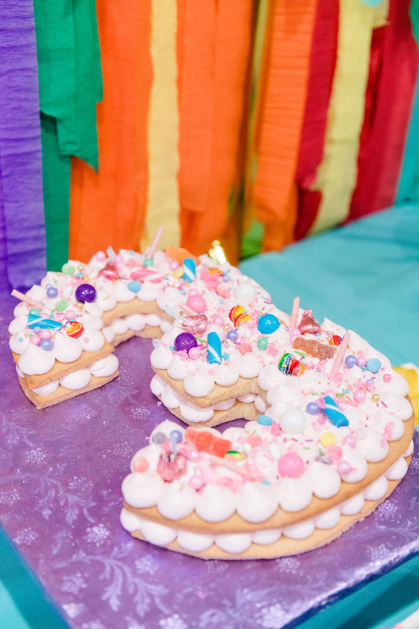 Rainbow Color Factory Birthday Cake on Pretty My Party