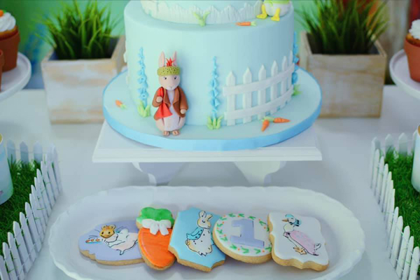 Peter Rabbit Birthday Cake and Cookies on Pretty My Party