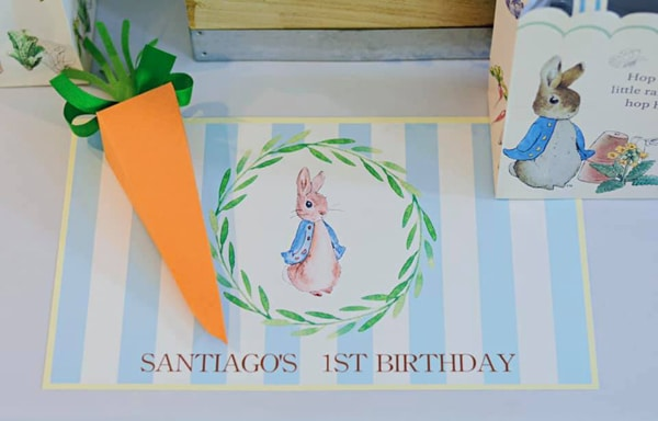 Peter Rabbit Party Place Setting on Pretty My Party