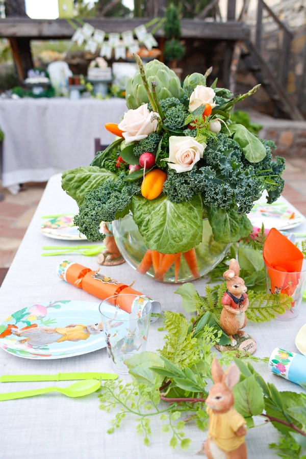 Peter Rabbit Party Table and Centerpiece - Peter Rabbit Birthday Party Ideas