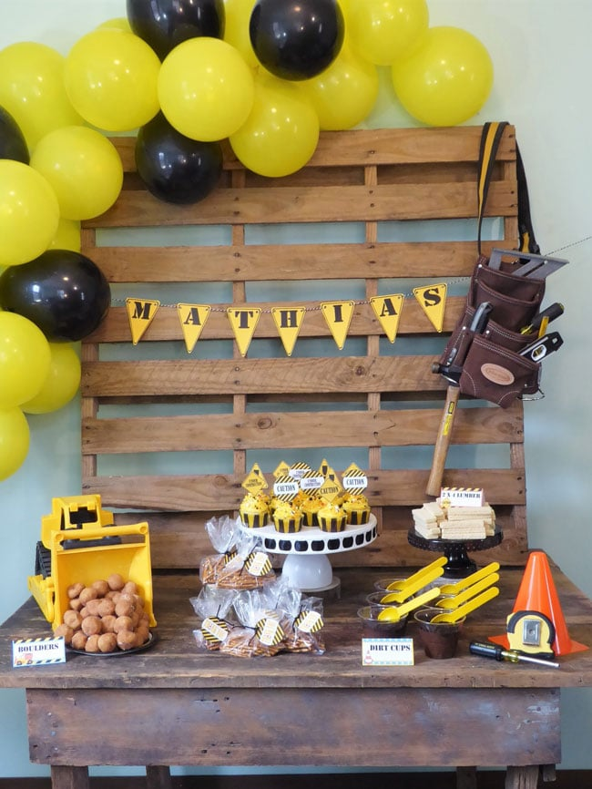 Construction Birthday Party Dessert Table
