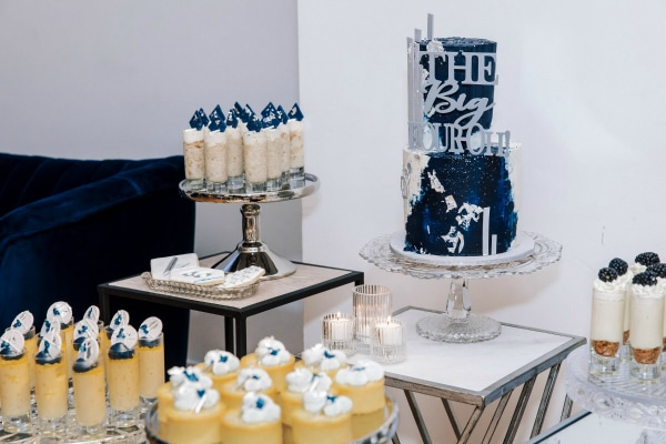 navy blue and silver 40th birthday party   pretty my party