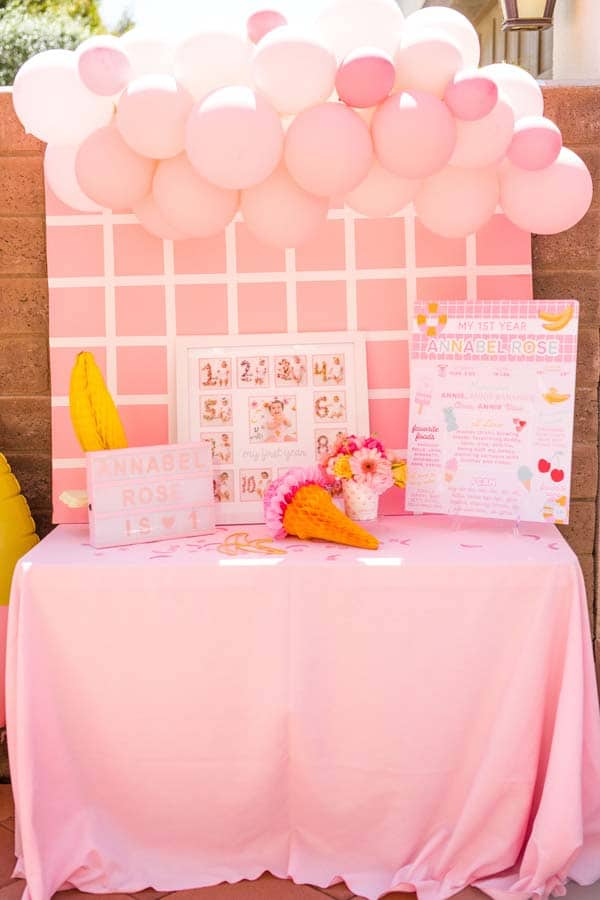 Pink 1st Birthday Photo Display With 1st Year Poster