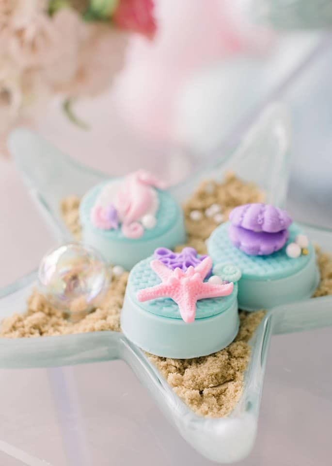 Mermaid Birthday Party Chocolate Covered Oreos in a Starfish Serving Dish