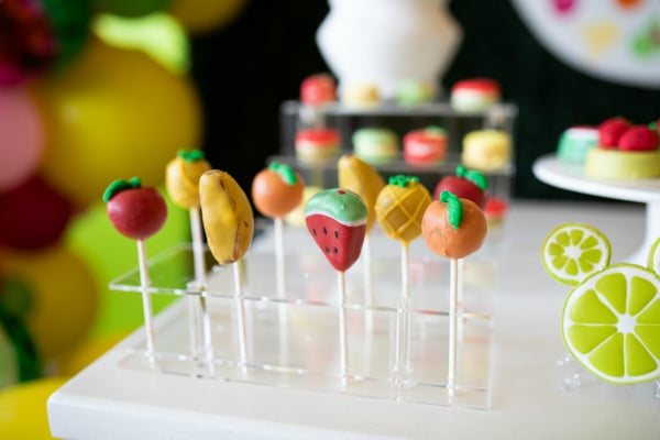 Tutti Frutti Minnie Mouse Party Cake Pops on Pretty My Party