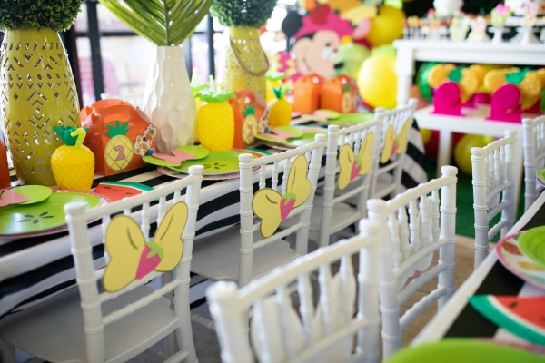 Tutti Frutti Minnie Mouse Party Tables on Pretty My Party