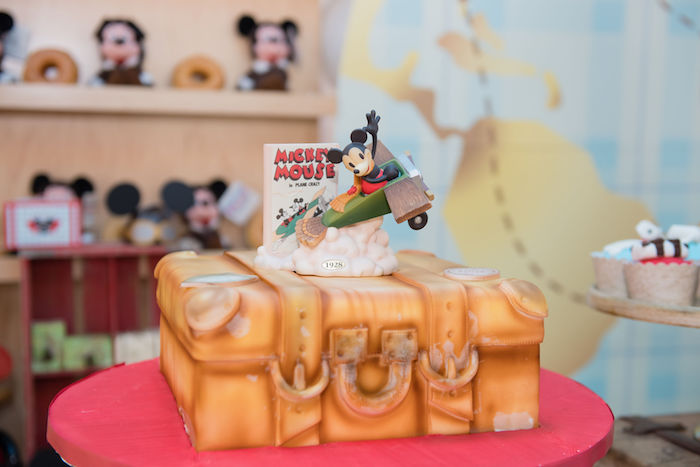 Aviator Mickey Mouse Suitcase Cake
