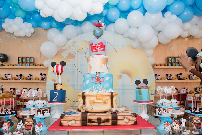 Aviator Mickey Mouse Birthday Cake and Desserts