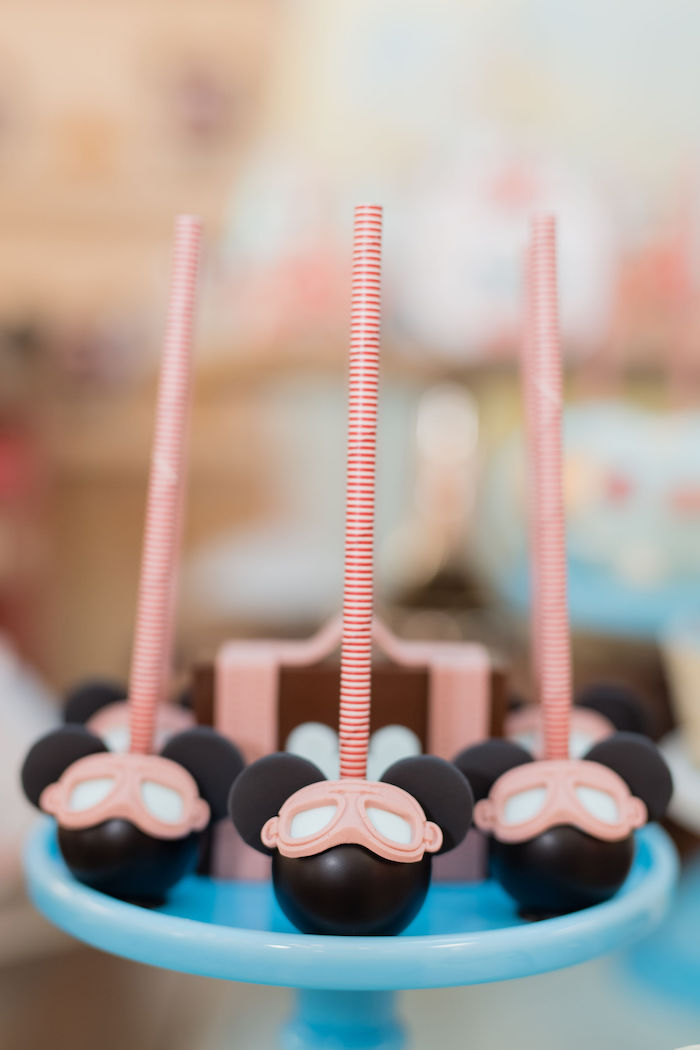 Aviator Mickey Mouse Cake Pops