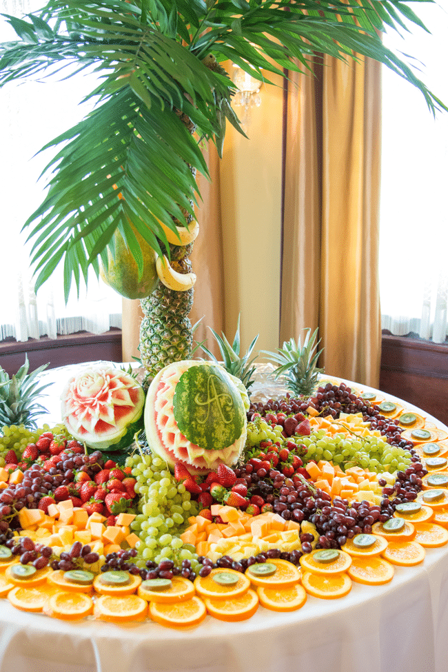 Jungle Theme Palm Tree Fruit Display