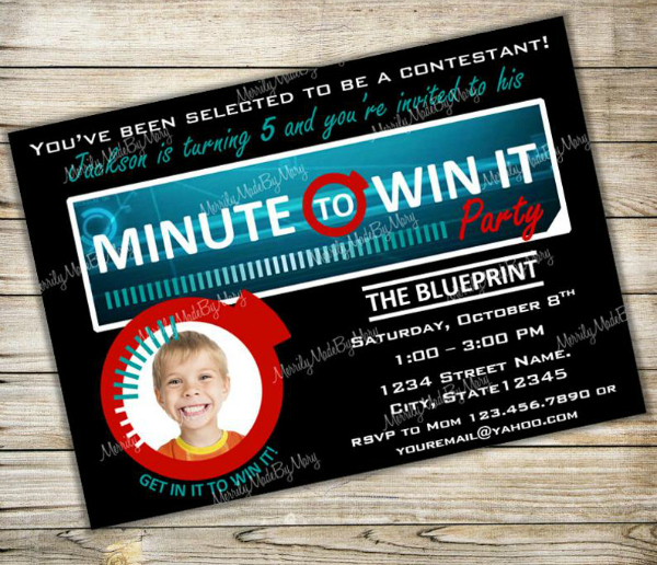 Minute To Win It Party Invitation For Kids
