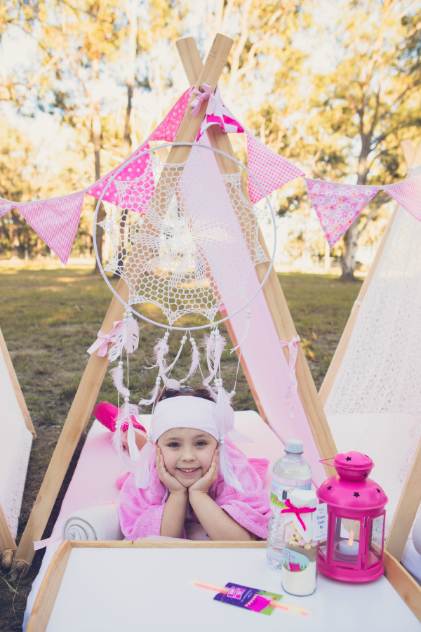 Pink Glamping Party Tee Pee Tent